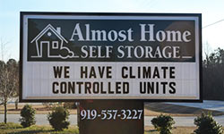 almost home self storage sign fuquay-varina